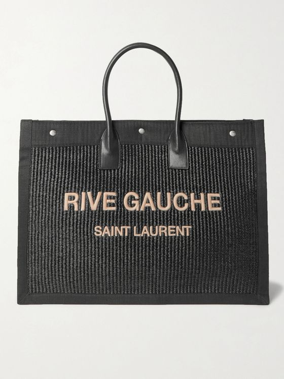 SAINT LAURENT Large Logo-Embroidered Leather-Trimmed Canvas Tote Bag