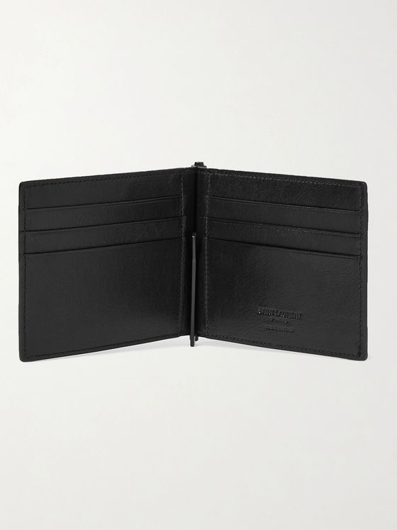 SAINT LAURENT Logo-Debossed Leather Wallet with Money Clip