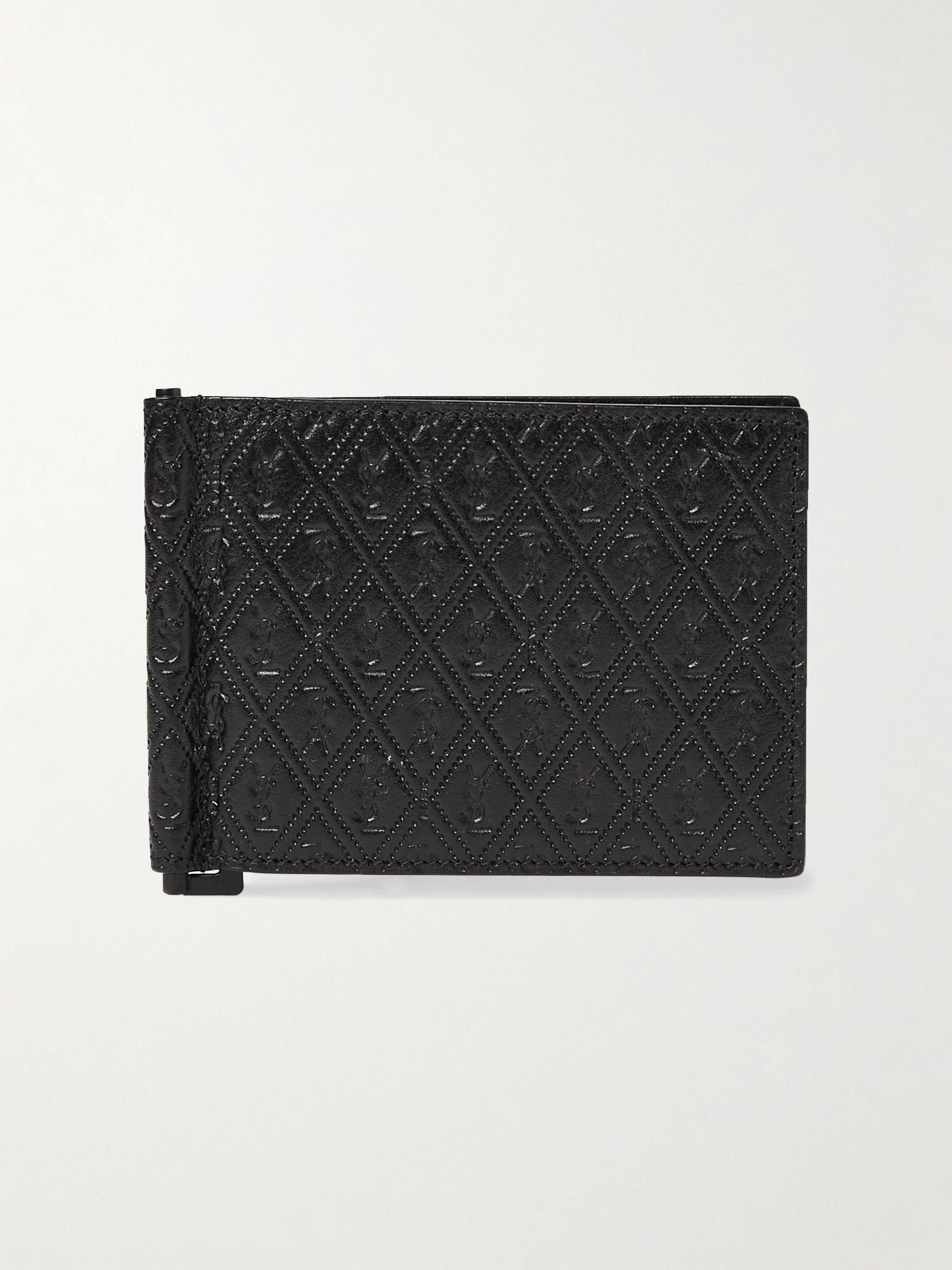 생 로랑 올오버 지갑과 머니클립 - 엠보스드 가죽 블랙 Saint Laurent Logo-Debossed Leather Wallet with Money Clip,Black