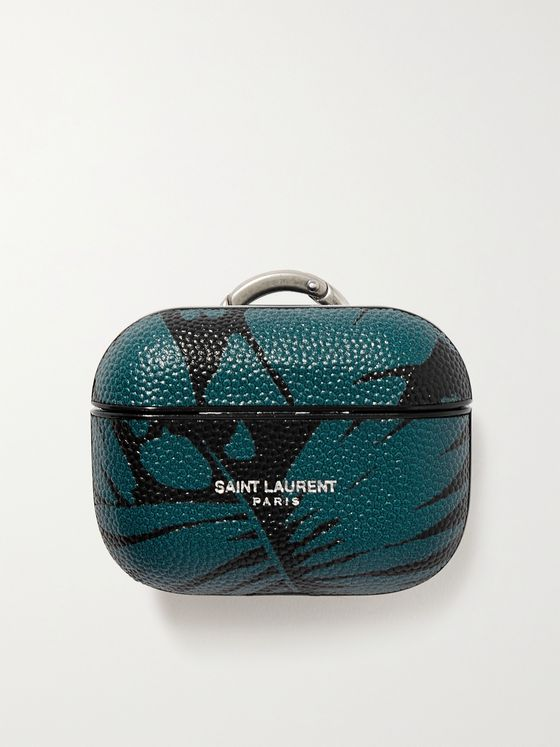 SAINT LAURENT Printed Pebble-Grain Leather AirPods Pro Case