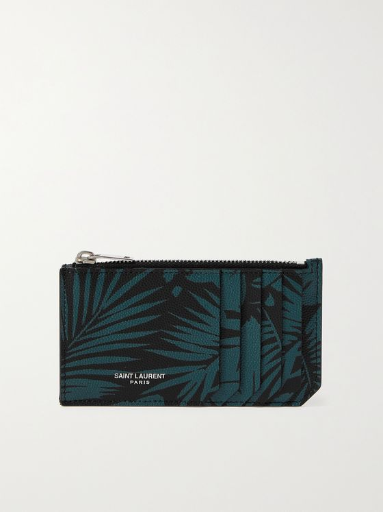 SAINT LAURENT Printed Pebble-Grain Leather Zipped Cardholder