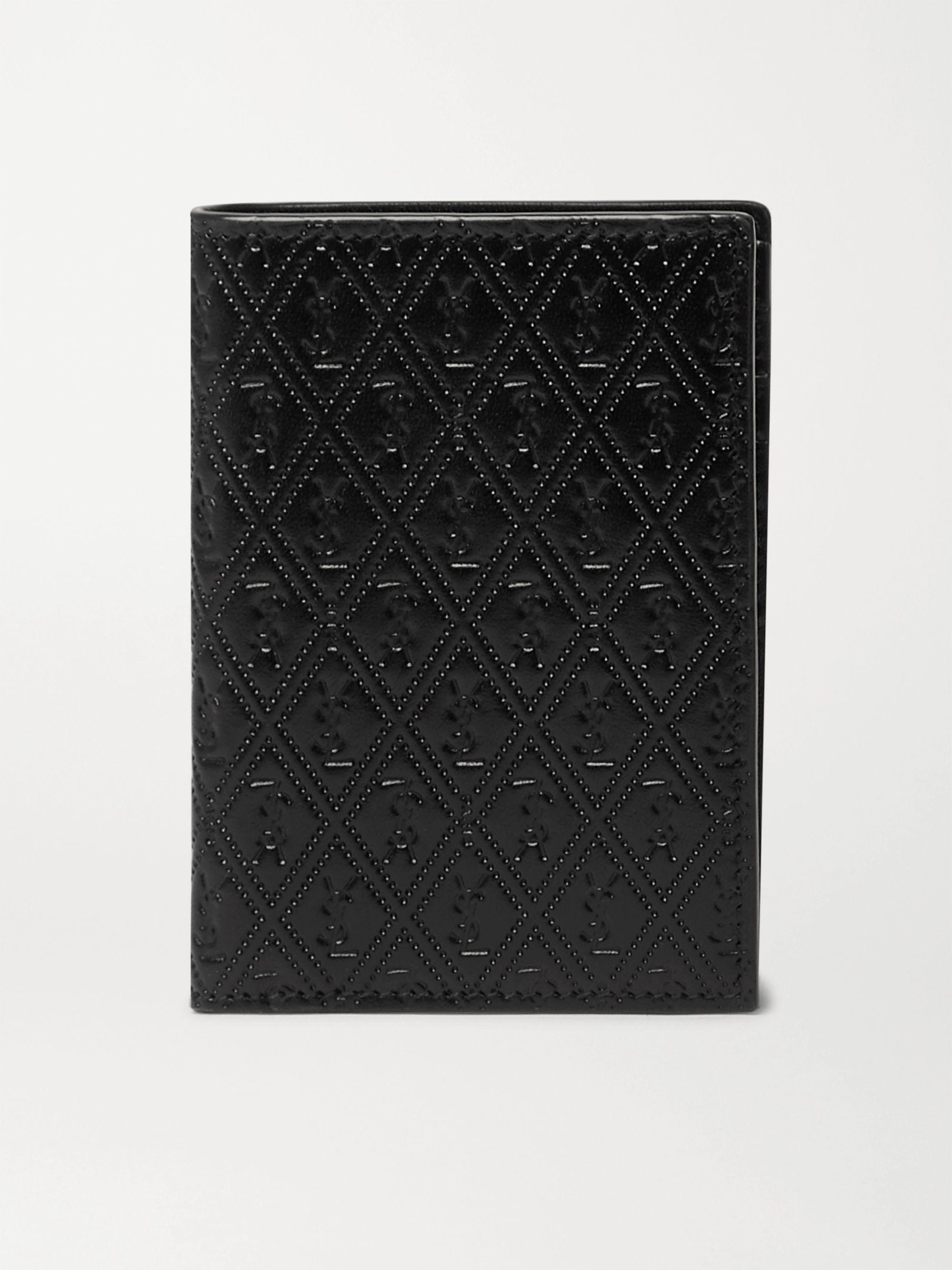 생 로랑 올오버 반지갑 - 엠보스드 가죽 블랙 Saint Laurent Logo-Debossed Leather Bifold Wallet,Black