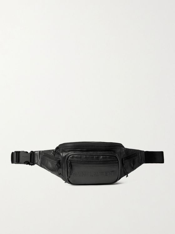 SAINT LAURENT Logo-Embossed Leather Belt Bag
