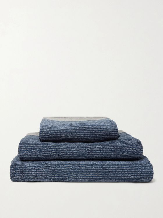 Cleverly Laundry Set of Three Pinstriped Cotton-Terry Bath Towels