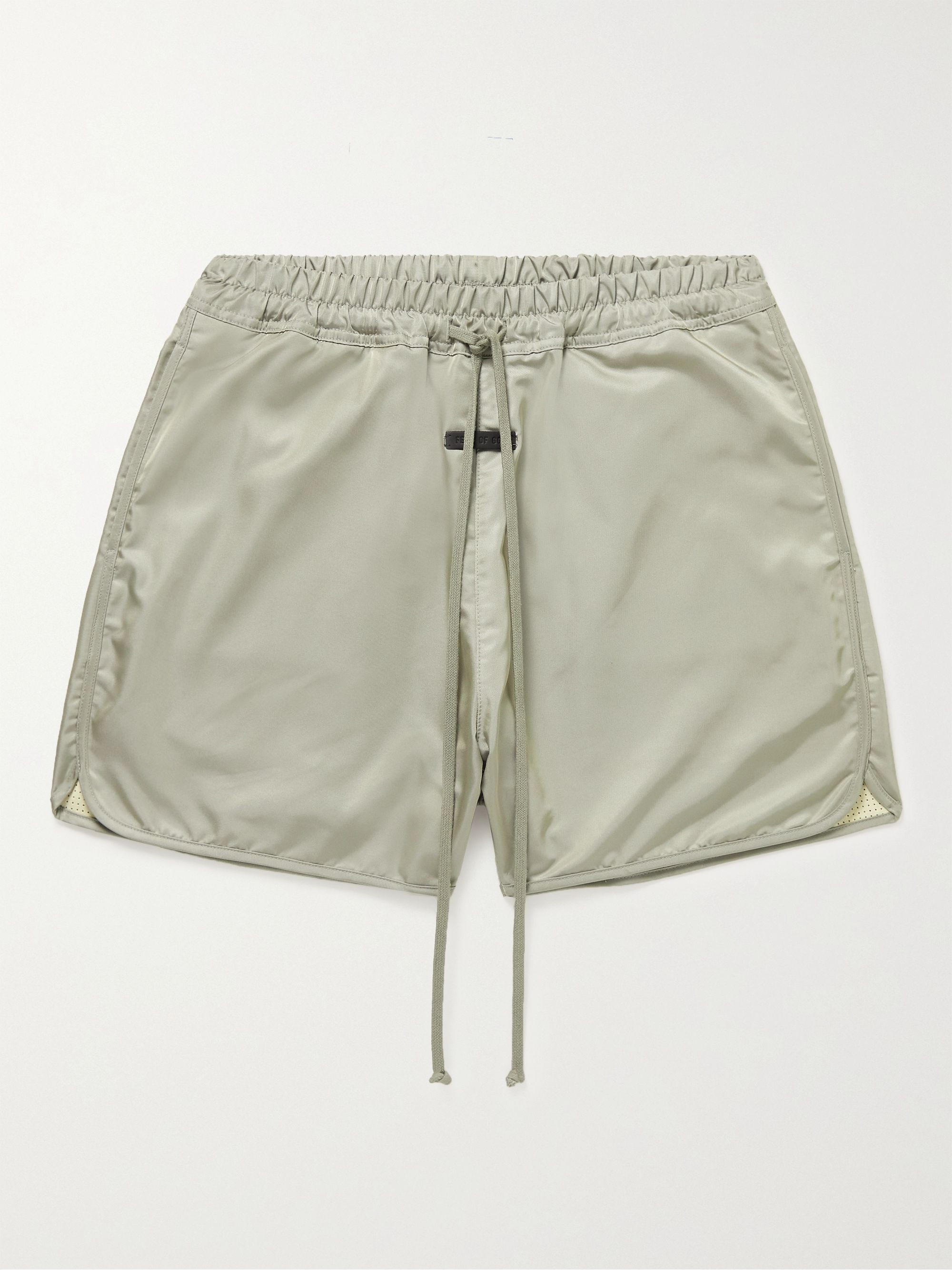 Fear of God Wide-Leg Logo-Appliqued Iridescent Nylon Drawstring Shorts,Gray