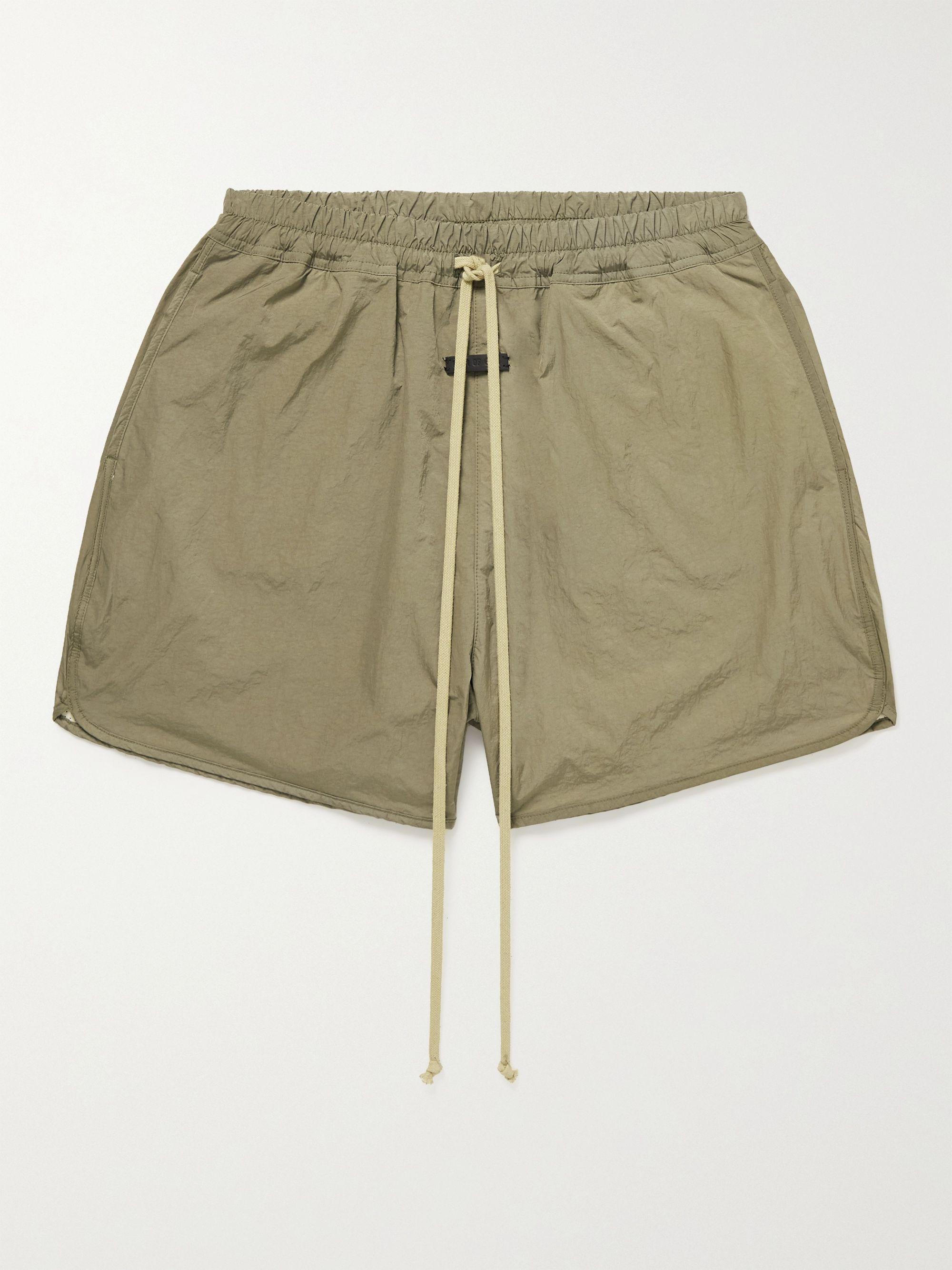 Fear of God Wide-Leg Logo-Appliqued Nylon Drawstring Shorts,Taupe