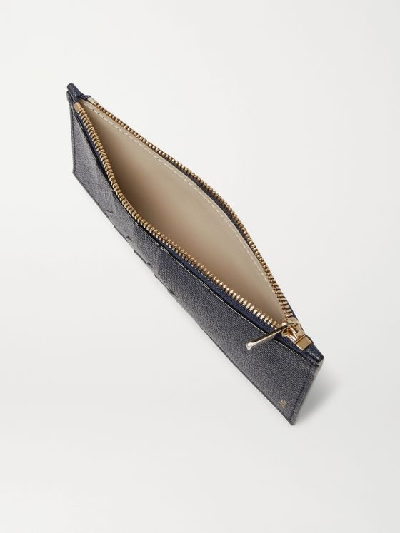 Valextra Pebble-Grain Leather Zipped Cardholder