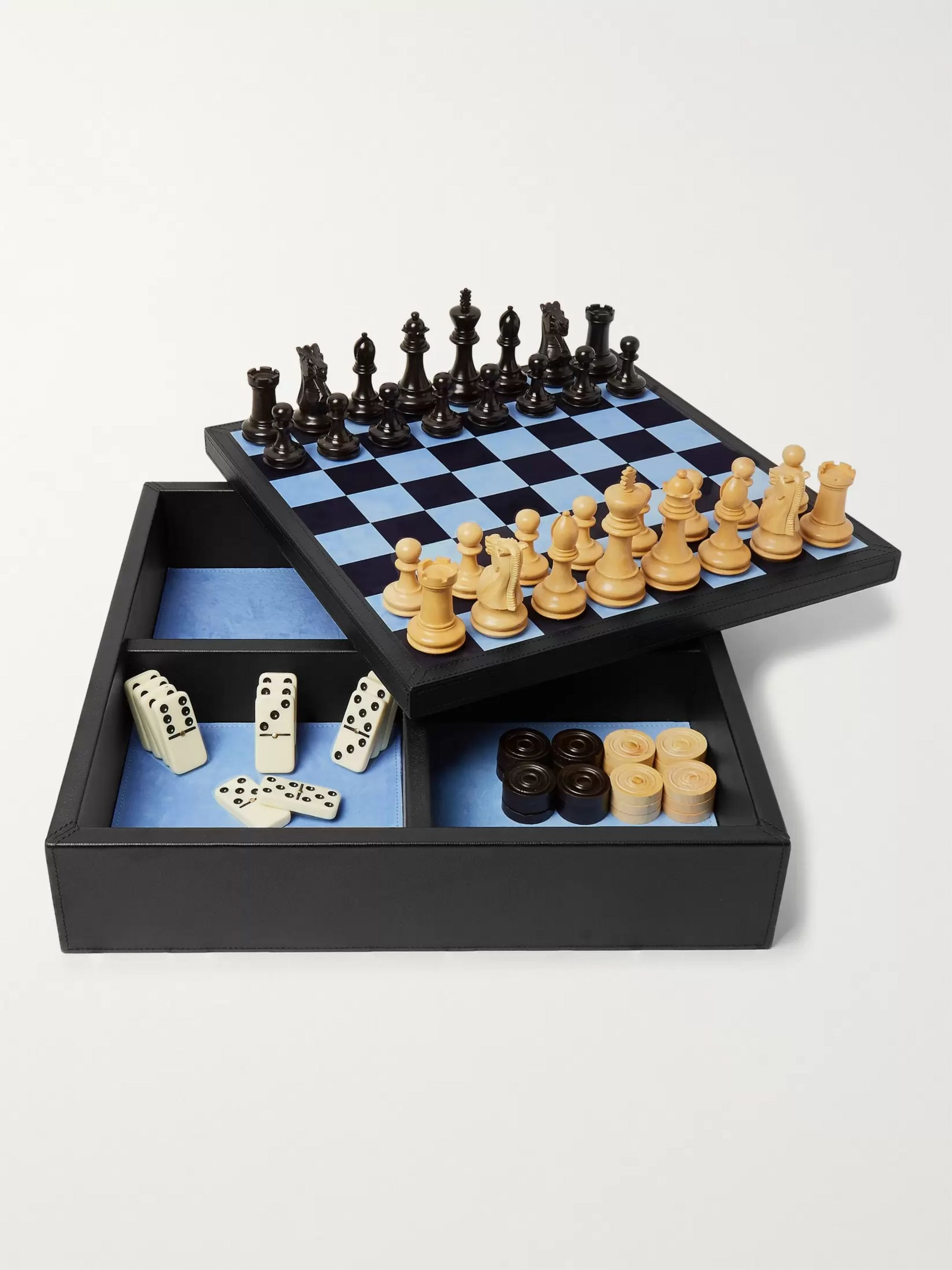 Smythson Grosvenor Full-Grain Leather Games Compendium - Dominoes, Chess and Checkers