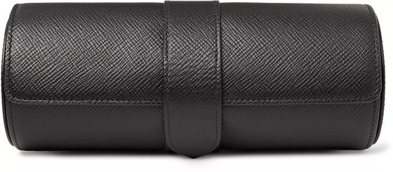 Smythson Panama Cross-Grain Leather Watch Roll