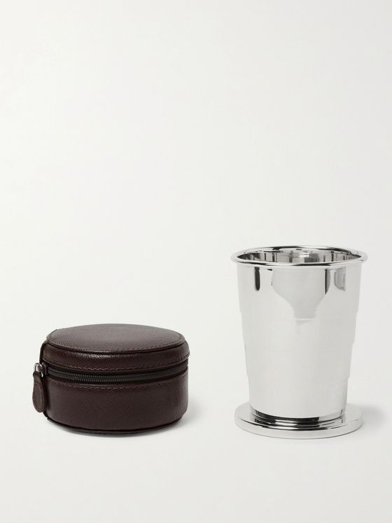 LORENZI MILANO Silver-Tone Collapsible Cup with Cross-Grain Leather Case