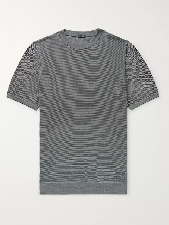 KITON Striped Cotton T-Shirt