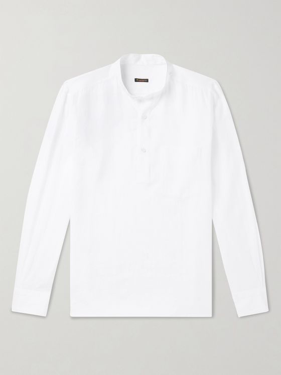 Rubinacci Grandad-Collar Cotton Half-Placket Shirt