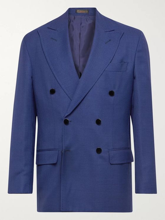 RUBINACCI Double-Breasted Unstructured Micro Basketweave Virgin Wool Suit Jacket