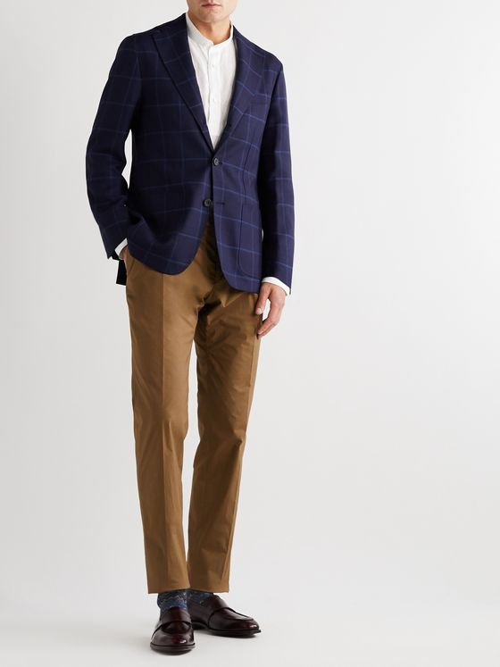 RUBINACCI Windowpane-Checked Virgin Wool Blazer
