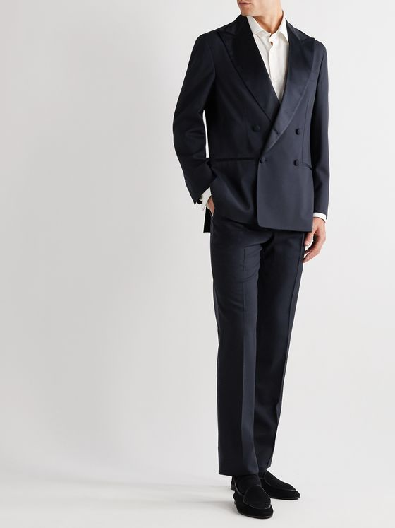 Rubinacci Double-Breasted Satin-Trimmed Virgin Wool Tuxedo Jacket