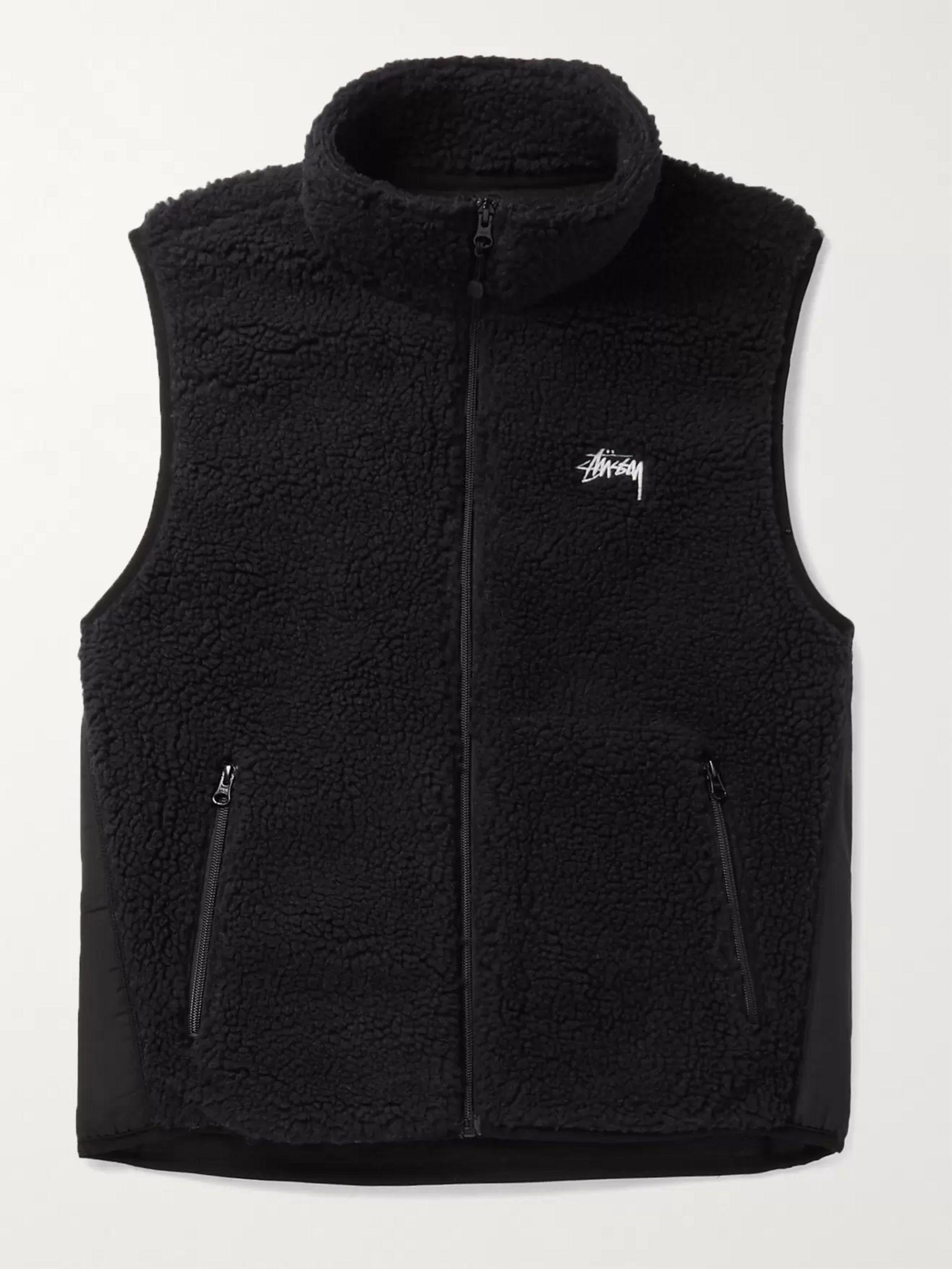 스투시 Stussy Logo-Embroidered Nylon-Trimmed Fleece Gilet,Black
