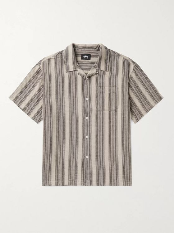 Stüssy Camp-Collar Striped Waffle-Knit Cotton Shirt