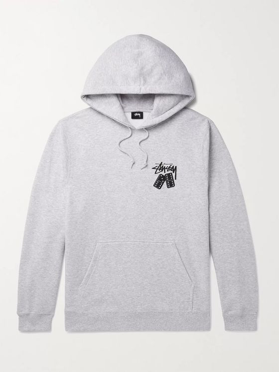 Stüssy Logo-Print Mélange Fleece-Back Cotton-Blend Jersey Hoodie