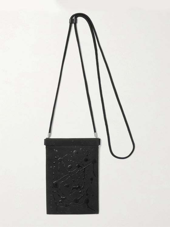 MAISON MARGIELA Paint-Splattered Suede Pouch with Lanyard