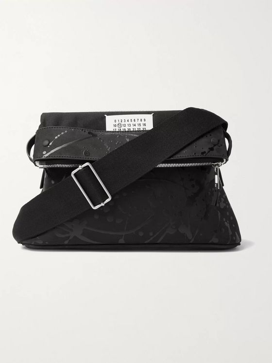 MAISON MARGIELA Leather-Trimmed Printed Nubuck Messenger Bag
