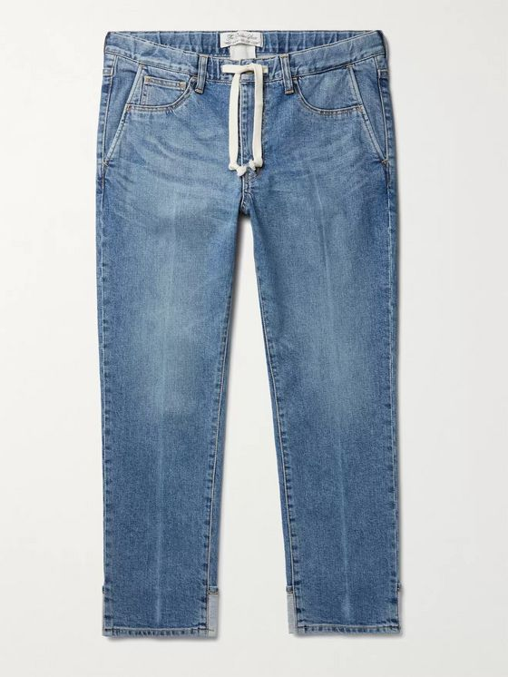 REMI RELIEF Slim-Fit Tapered Denim Drawstring Jeans
