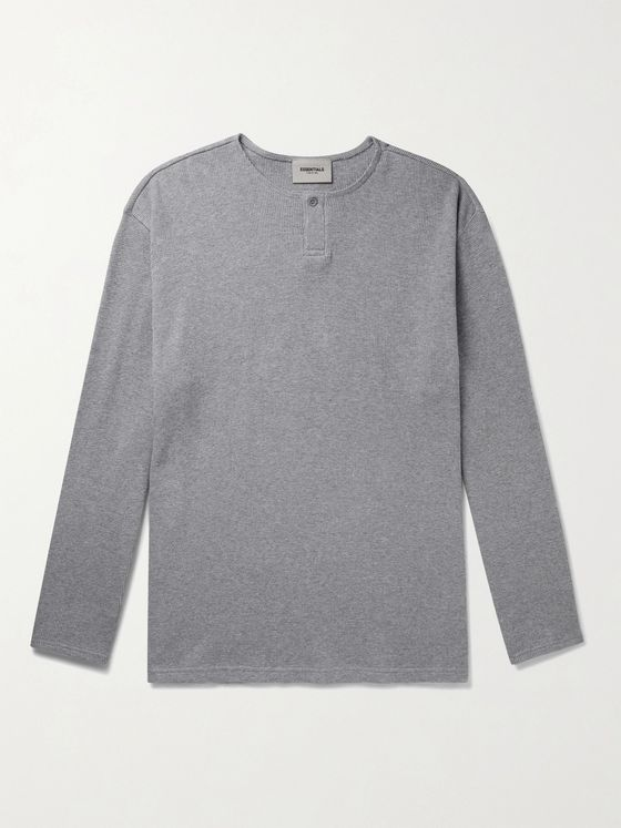 Fear of God Essentials Thermal Waffle-Knit Cotton Henley T-Shirt