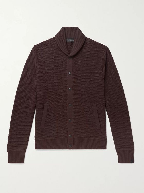 RAG & BONE Cardiff Shawl-Collar Cotton and Merino Wool-Blend Cardigan
