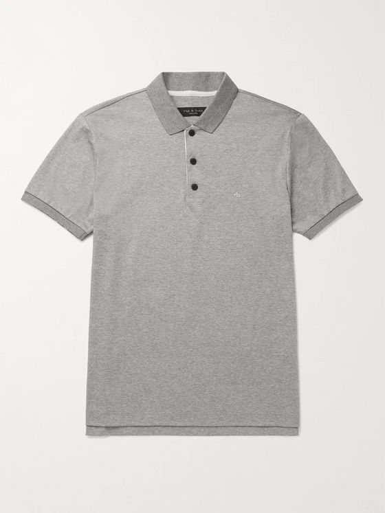 RAG & BONE Mélange Cotton-Jersey Polo Shirt
