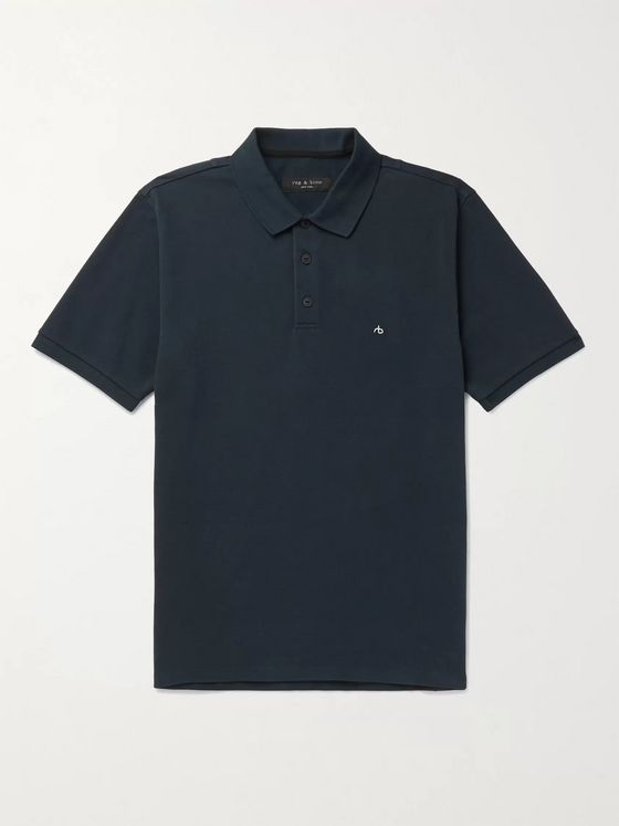 RAG & BONE Logo-Embroidered Cotton-Blend Piqué Polo Shirt