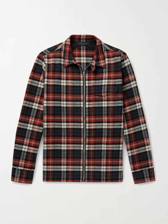 RAG & BONE Henry Checked Brushed Cotton-Flannel Overshirt