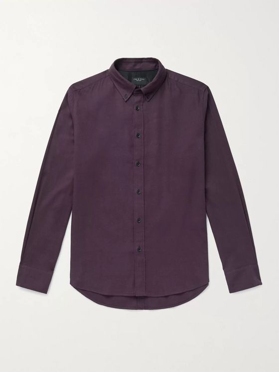 RAG & BONE Tomlin Slim-Fit Button-Down Collar Cotton-Blend Shirt