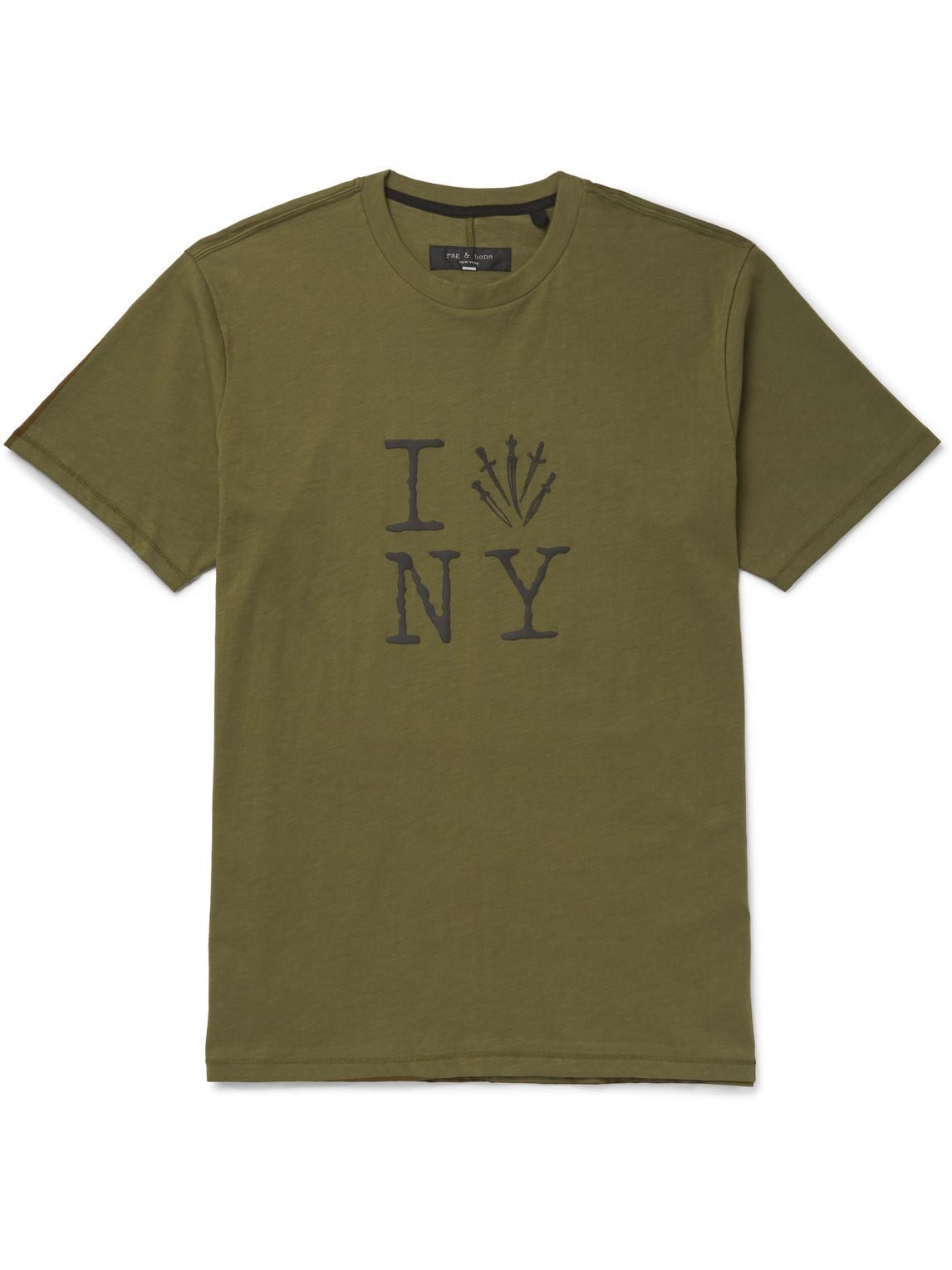 rag amp; bone - slim-fit printed cotton-jersey t-shirt - men - green - s