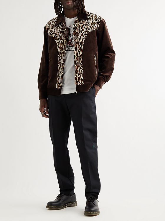WACKO MARIA Panelled Cotton-Corduroy and Leopard-Print Felt Jacket
