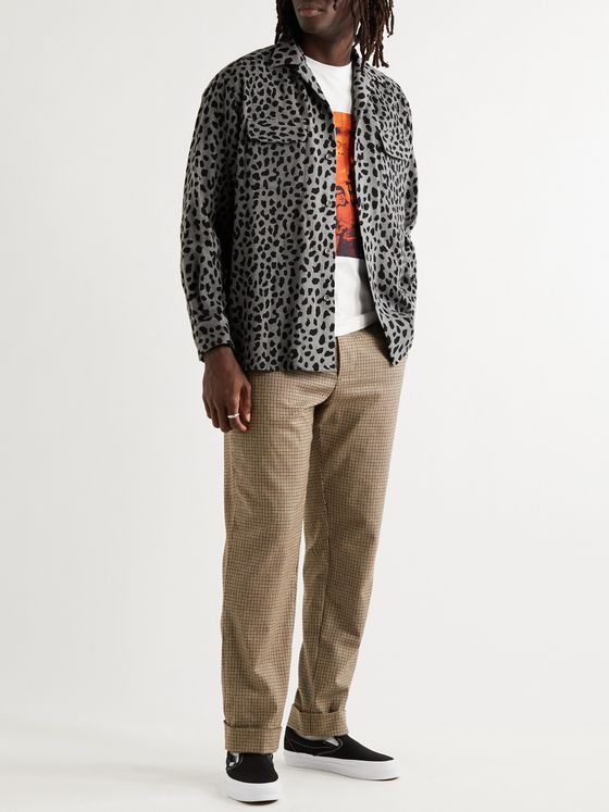 WACKO MARIA Camp-Collar Leopard-Print Wool-Blend Flannel Shirt