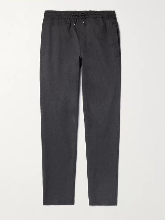 A.P.C. Kaplan Slim-Fit Herringbone Cotton and Virgin Wool-Blend Drawstring Trousers