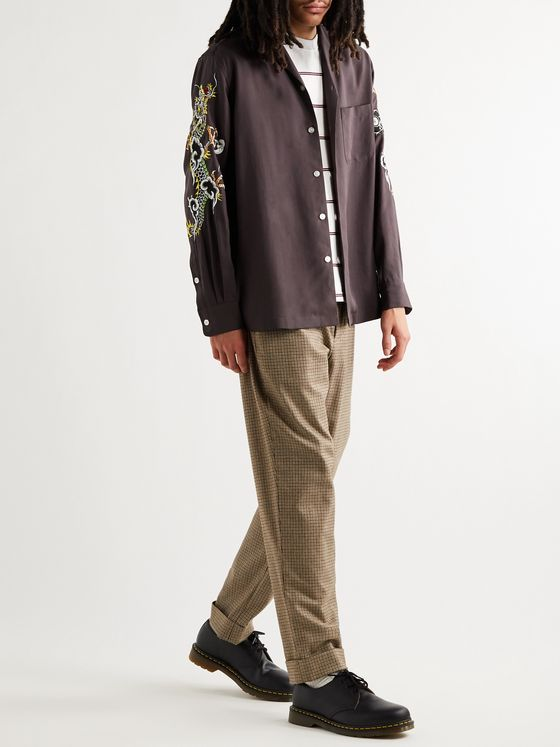 WACKO MARIA + Tim Lehi Camp-Collar Embroidered Lyocell Shirt