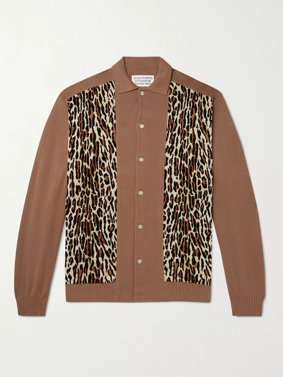 WACKO MARIA Panelled Cotton-Blend and Leopard-Print Felt Cardigan