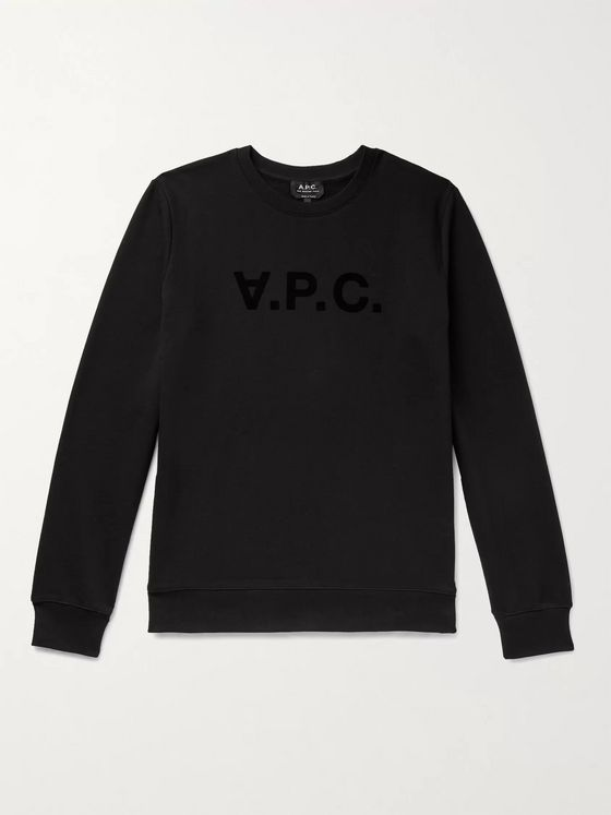 A.P.C. Logo-Flocked Loopback Cotton-Jersey Sweatshirt