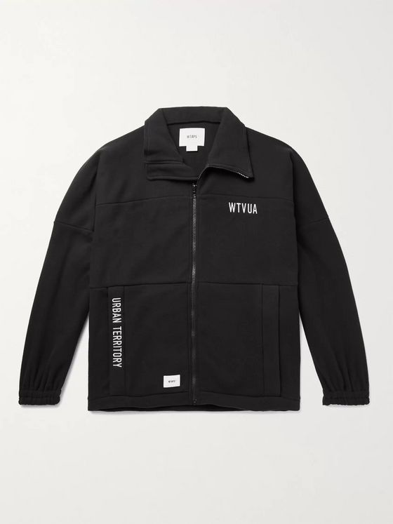 WTAPS Forester Logo-Appliquéd Embroidered Fleece Zip-Up Sweatshirt