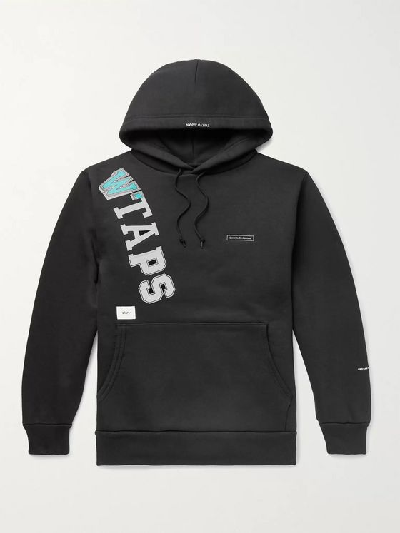 WTAPS Katz Logo-Appliquéd Printed Fleece-Back Cotton-Blend Jersey Hoodie