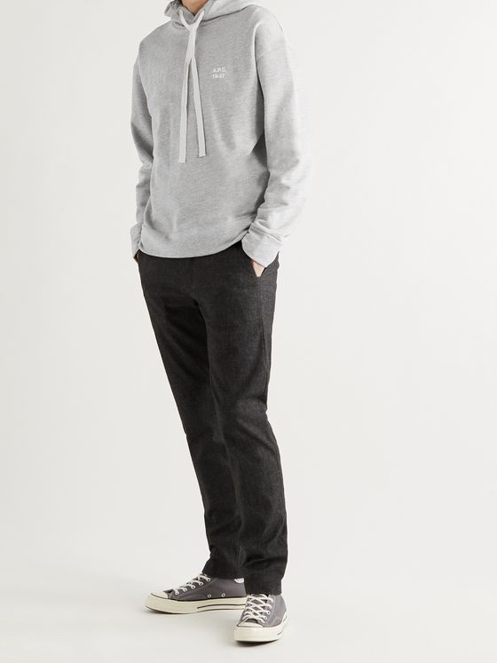 A.P.C. Jason Logo-Print Mélange Loopback Cotton and Modal-Blend Jersey Hoodie