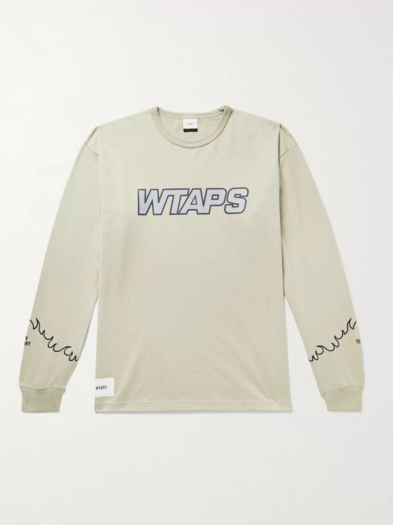 WTAPS Embroidered Logo-Print Cotton-Blend Jersey T-Shirt