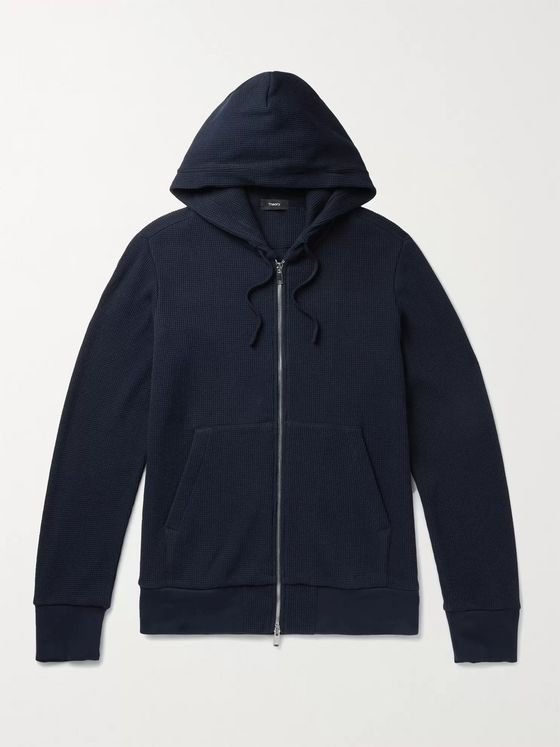 THEORY Mattis Waffle-Knit Cotton Zip-Up Hoodie