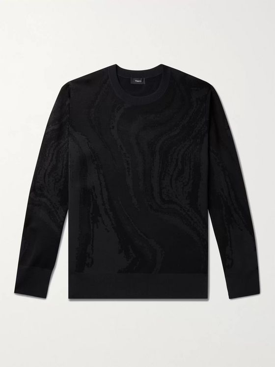 THEORY Intarsia Neoprene Sweater