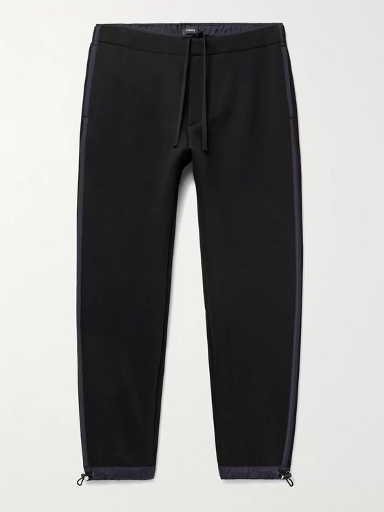 Theory Tapered Reversible Cotton-Blend Jersey and Fleece Sweatpants