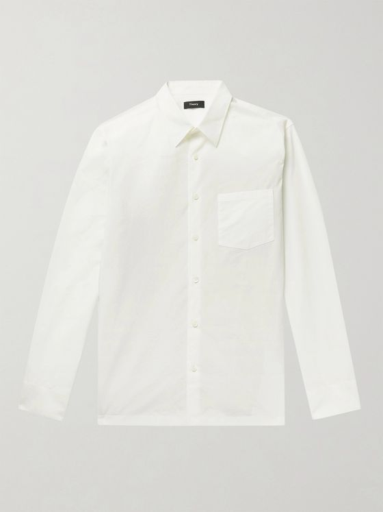 THEORY Willomere Barker Cotton-Poplin and Stretch-Knit Shirt