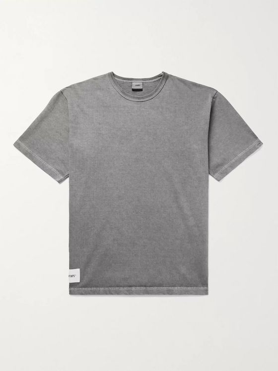 WTAPS Sign Logo-Appliquéd Embroidered Pigment-Dyed Cotton-Jersey T-Shirt
