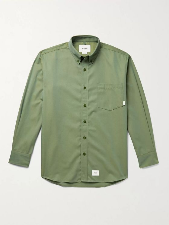 WTAPS Button-Down Collar Logo-Appliquéd Twill Shirt