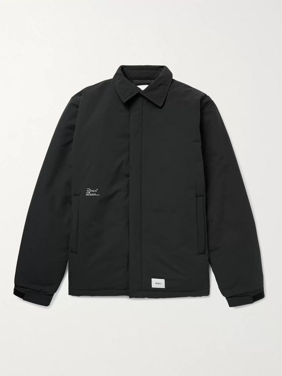 WTAPS Stock Man Logo-Print Appliquéd Padded Shell Jacket