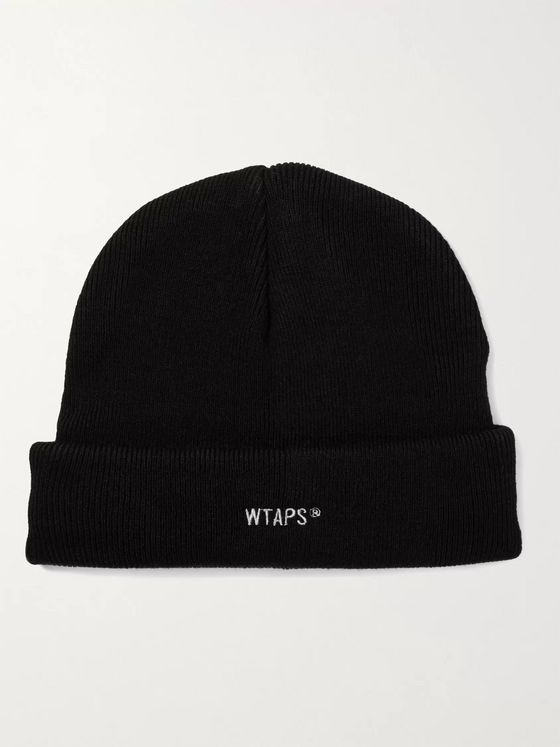 WTAPS Logo-Embroidered Ribbed-Knit Beanie